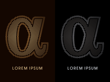 alpha: Alpha ,abstract luxury font, Designed using gold and black line square, geometric shape, graphic vector. Illustration