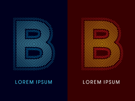 neon letter: B ,abstract luxury font, Designed using cool and hot colors, line square, geometric shape, graphic vector.