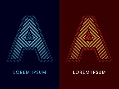 aglow: A ,abstract luxury font, Designed using cool and hot colors, line square, geometric shape, graphic vector.
