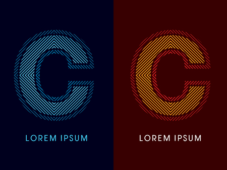 aglow: C ,abstract luxury font, Designed using cool and hot colors, line square, geometric shape, graphic vector.