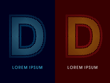 aglow: D ,abstract luxury font, Designed using cool and hot colors, line square, geometric shape, graphic vector.