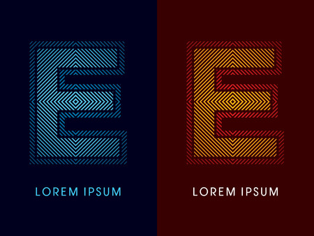 aglow: E ,abstract luxury font, Designed using cool and hot colors, line square, geometric shape, graphic vector.