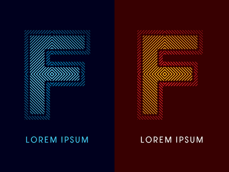 aglow: F ,abstract luxury font, Designed using cool and hot colors, line square, geometric shape, graphic vector. ,abstract luxury font, Designed using cool and hot colors, line square, geometric shape, graphic vector. Illustration