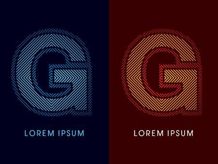 irradiate: G, fuente de lujo abstracto, Dise�ado utilizando colores fr�os y calientes, plaza de l�nea, forma geom�trica, vector gr�fico.
