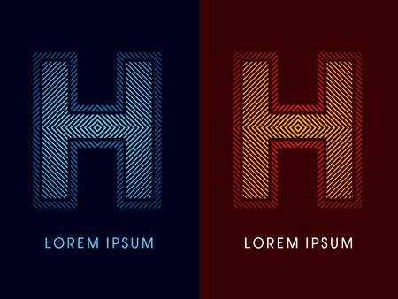 h: H ,abstract luxury font, Designed using cool and hot colors, line square, geometric shape, graphic vector.