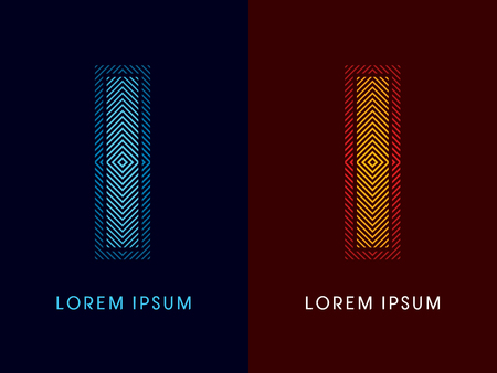 aglow: I ,abstract luxury font, Designed using cool and hot colors, line square, geometric shape, graphic vector. Illustration
