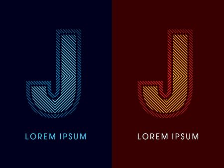 aglow: J ,abstract luxury font, Designed using cool and hot colors, line square, geometric shape, graphic vector.