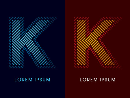 aglow: K ,abstract luxury font, Designed using cool and hot colors, line square, geometric shape, graphic vector. Illustration