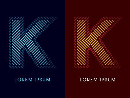 irradiate: K, fuente de lujo abstracto, Dise�ado utilizando colores fr�os y calientes, plaza de l�nea, forma geom�trica, vector gr�fico. Vectores