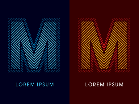aglow: M ,abstract luxury font, Designed using cool and hot colors, line square, geometric shape, graphic vector.
