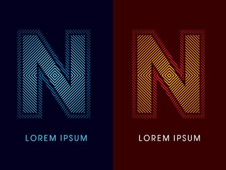 irradiate: N ,abstract luxury font, Designed using cool and hot colors, line square, geometric shape, graphic vector.