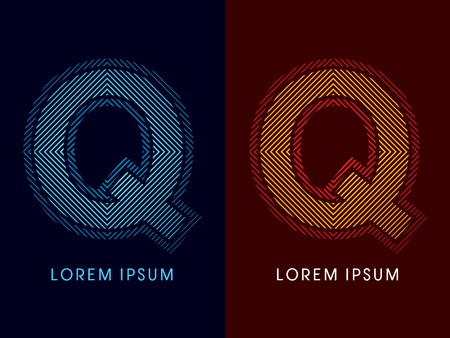 aglow: Q ,abstract luxury font, Designed using cool and hot colors, line square, geometric shape, graphic vector. Illustration