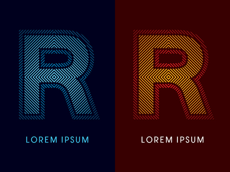 aglow: R ,abstract luxury font, Designed using cool and hot colors, line square, geometric shape, graphic vector. Illustration
