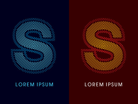 aglow: S ,abstract luxury font, Designed using cool and hot colors, line square, geometric shape, graphic vector. Illustration