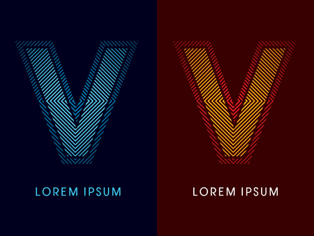 irradiate: V ,abstract luxury font, Designed using cool and hot colors, line square, geometric shape, graphic vector.