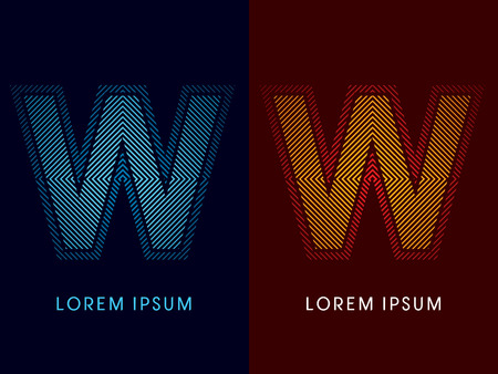 aglow: W ,abstract luxury font, Designed using cool and hot colors, line square, geometric shape, graphic vector.