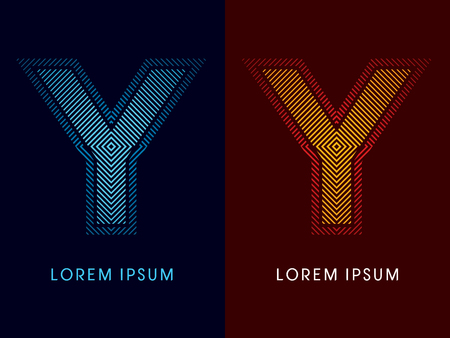 aglow: Y ,abstract luxury font, Designed using cool and hot colors, line square, geometric shape, graphic vector.