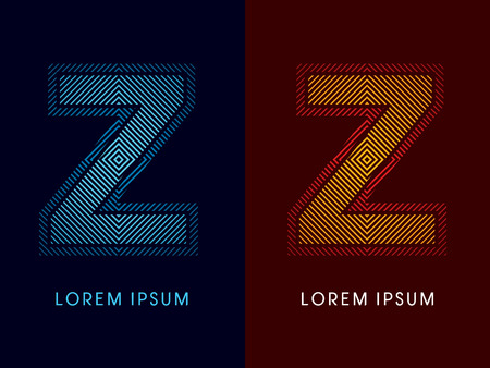 aglow: Z ,abstract luxury font, Designed using cool and hot colors, line square, geometric shape, graphic vector.