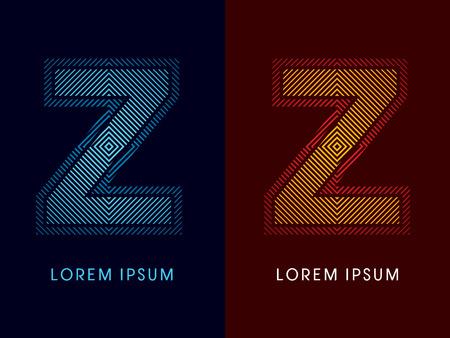 irradiate: Z, fuente de lujo abstracto, Dise�ado utilizando colores fr�os y calientes, plaza de l�nea, forma geom�trica, vector gr�fico.