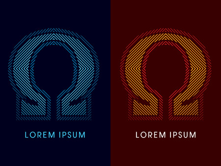 aglow: Omega ,abstract luxury font, Designed using cool and hot colors, line square, geometric shape, graphic vector.