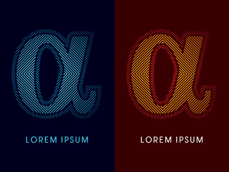aglow: Alpha ,abstract luxury font, Designed using cool and hot colors, line square, geometric shape, graphic vector. Illustration