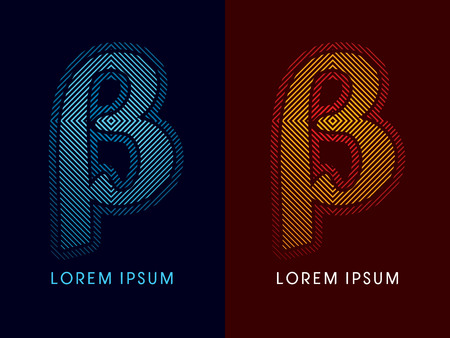 aglow: Beta ,abstract luxury font, Designed using cool and hot colors, line square, geometric shape, graphic vector. Illustration