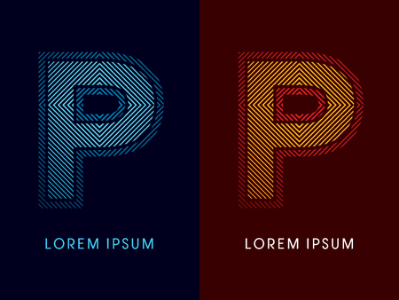 aglow: P ,abstract luxury font, Designed using cool and hot colors, line square, geometric shape, graphic vector.