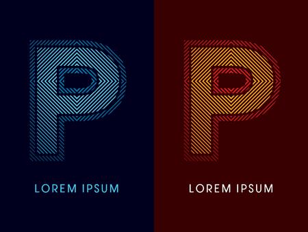 fiery font: P, abstrakte Luxus Schrift, entworfen unter Verwendung k�hl und hei� Farben, Linien Platz, geometrische Form, Vektor-Grafik.
