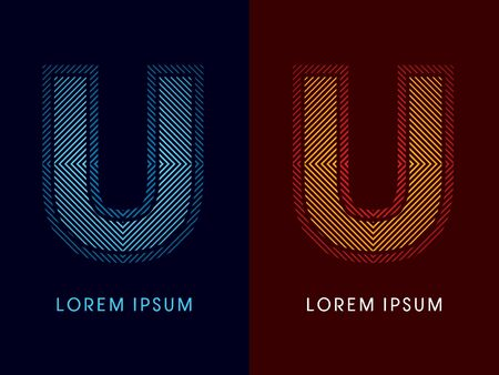 irradiate: U ,abstract luxury font, Designed using cool and hot colors, line square, geometric shape, graphic vector.