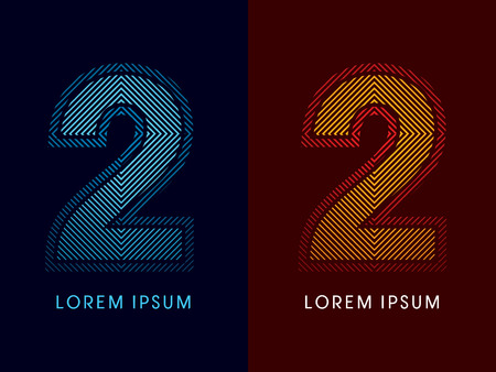 aglow: 2 ,abstract luxury font, Designed using cool and hot colors, line square, geometric shape, graphic vector. Illustration