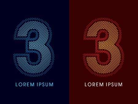 aglow: 3 ,abstract luxury font, Designed using cool and hot colors, line square, geometric shape, graphic vector.