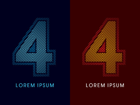 aglow: 4 ,abstract luxury font, Designed using cool and hot colors, line square, geometric shape, graphic vector.