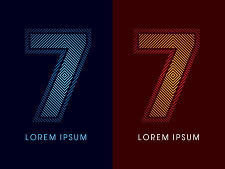 aglow: 7 ,abstract luxury font, Designed using cool and hot colors, line square, geometric shape, graphic vector.