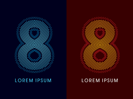 aglow: 8 ,abstract luxury font, Designed using cool and hot colors, line square, geometric shape, graphic vector.