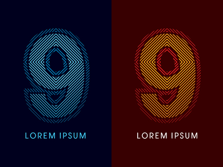 aglow: 9 ,abstract luxury font, Designed using cool and hot colors, line square, geometric shape, graphic vector.