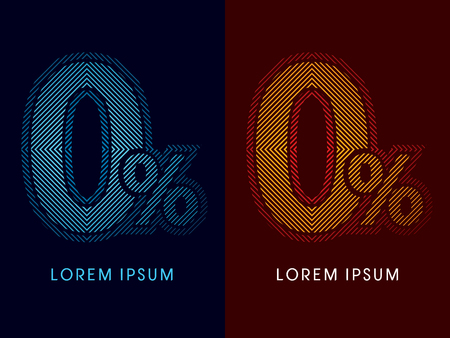 aglow: 0, zero percent, abstract luxury font, Designed using cool and hot colors, line square, geometric shape, graphic vector.