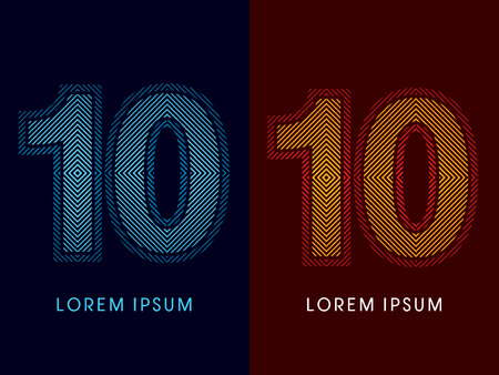aglow: 10 ,abstract luxury font, Designed using cool and hot colors, line square, geometric shape, graphic vector.