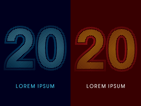 aglow: 20 ,abstract luxury font, Designed using cool and hot colors, line square, geometric shape, graphic vector.