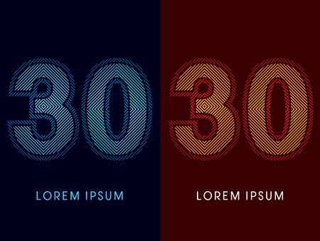 aglow: 30 ,abstract luxury font, Designed using cool and hot colors, line square, geometric shape, graphic vector.