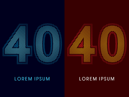 aglow: 40 ,abstract luxury font, Designed using cool and hot colors, line square, geometric shape, graphic vector. Illustration