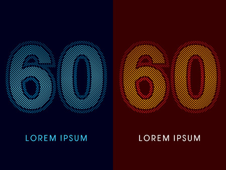 aglow: 60 ,abstract luxury font, Designed using cool and hot colors, line square, geometric shape, graphic vector. Illustration