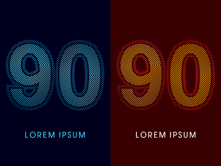 aglow: 90 ,abstract luxury font, Designed using cool and hot colors, line square, geometric shape, graphic vector. Illustration