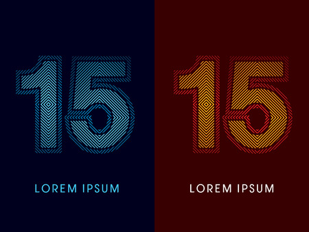 aglow: 15 ,abstract luxury font, Designed using cool and hot colors, line square, geometric shape, graphic vector. Illustration