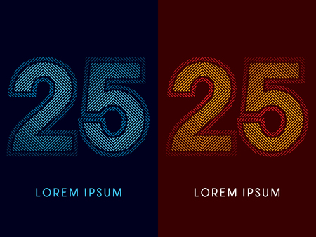 irradiate: 25 ,abstract luxury font, Designed using cool and hot colors, line square, geometric shape, graphic vector.
