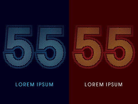 aglow: 55 ,abstract luxury font, Designed using cool and hot colors, line square, geometric shape, graphic vector. Illustration