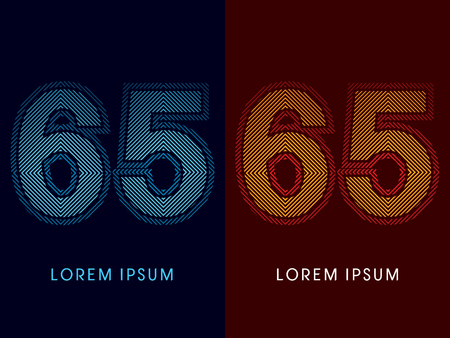 aglow: 65 ,abstract luxury font, Designed using cool and hot colors, line square, geometric shape, graphic vector.