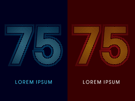 aglow: 75 ,abstract luxury font, Designed using cool and hot colors, line square, geometric shape, graphic vector. Illustration