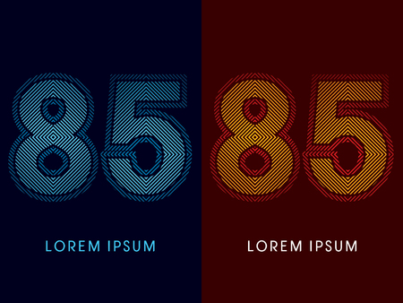 aglow: 85 ,abstract luxury font, Designed using cool and hot colors, line square, geometric shape, graphic vector.