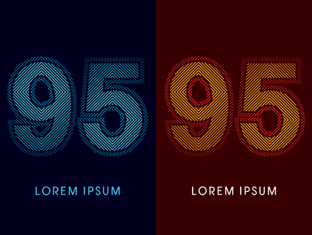 irradiate: 95 ,abstract luxury font, Designed using cool and hot colors, line square, geometric shape, graphic vector.