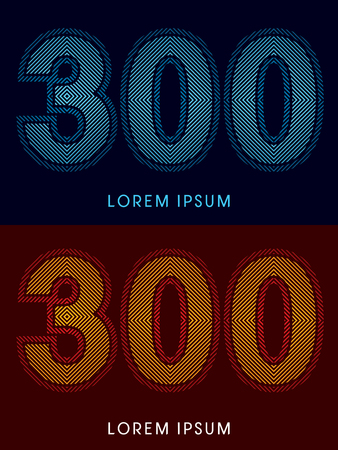 irradiate: 300 ,abstract luxury font, Designed using cool and hot colors, line square, geometric shape, graphic vector.